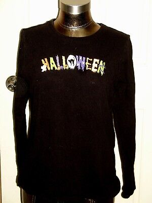 Halloween Shirts Womens (Halloween Womens Size L 12-14 (40) Black Long Sleeve Top/Shirt)
