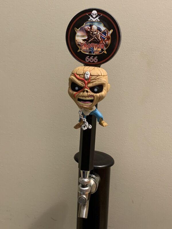 Iron Maiden Eddie The Trooper Beer Tap Keg Kegerator Handle + 10 Coasters & Base