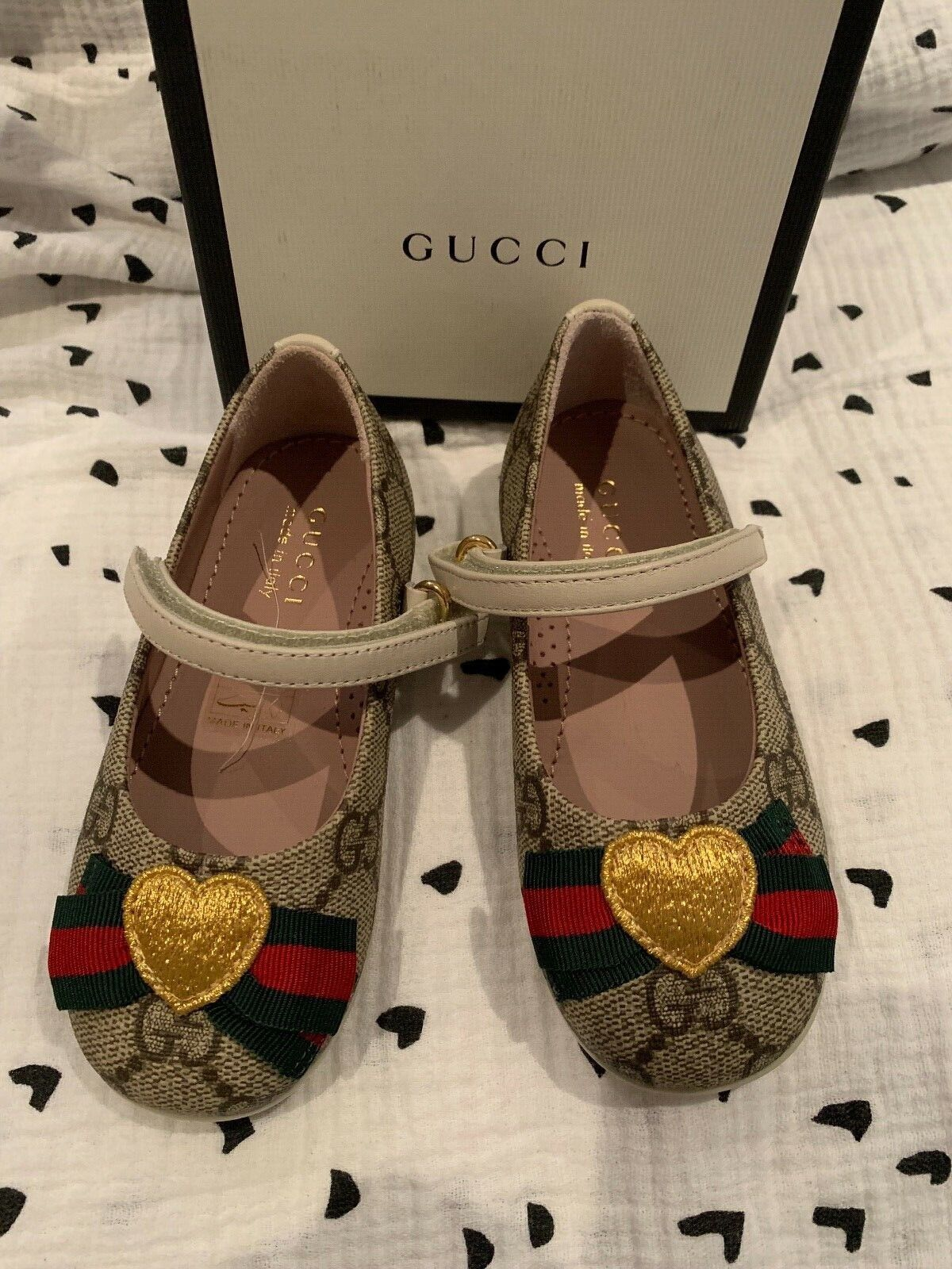 GUCCI Baby Toddler Erin GG Supreme with Web Mary Janes 22