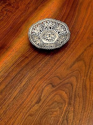 Hanau 800 Silver 19thC Dish with Reticulated Berry and Fruit Pattern No Monogram