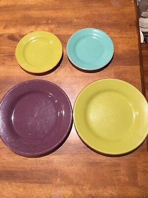 Set Of 4 Bobby Flay PLANCHA Salad plate (2) Bread Plates (2) Assorted Colors VGC