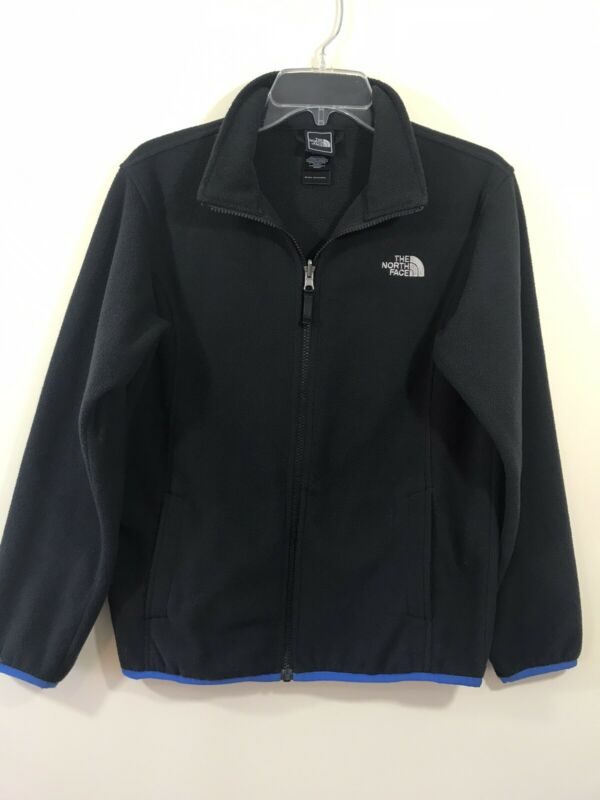 The North Face Boy's Navy Blue Fleece Jacket Full Zipper Pockets Large L 14 16