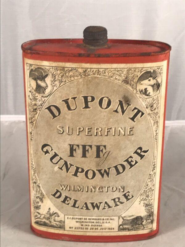 ANTIQUE JULY 1924 DUPONT SUPERFINE FFF GUNPOWDER RED TIN PAPER LABEL EMPTY CAN