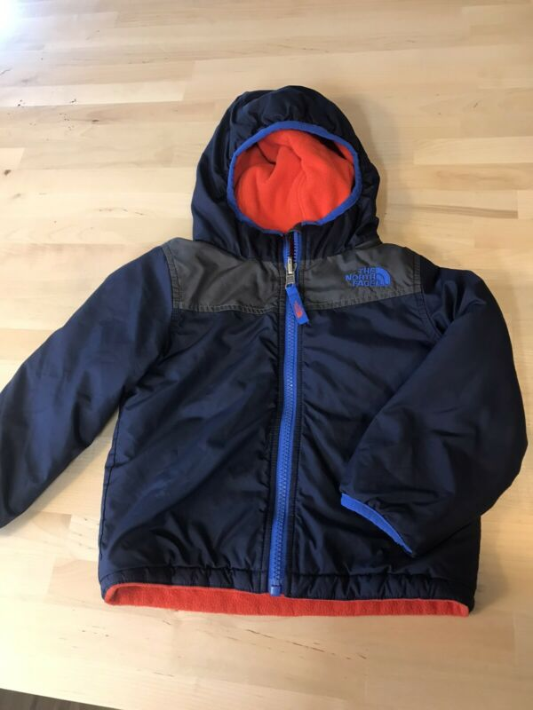 THE NORTH FACE Hooded Reversible Jacket Blue 12-18 Months Fleece Coat Boys