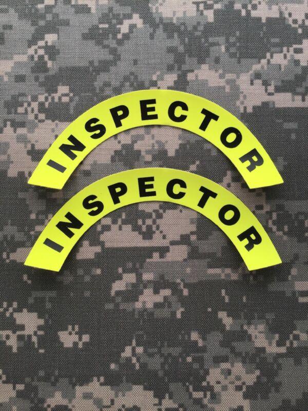 Pair Of 1st Responder/ EMS/ Fire Helmet Crescent Decal: Inspector Lime Green