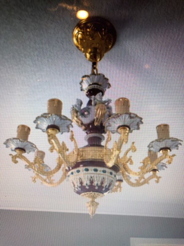 Gorgeous Cherub Angel Dresden Style Porcelain Chandelier