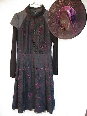 Gilr's Costume Cosplay Wizzard Witch Gothic Black w/ Magenta Nicely Made Sz 12?