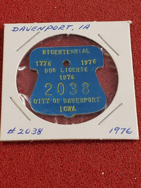 1976 Dog License Tag #2038 ☆ Bicentennial ☆Davenport, IA ☆ FREE SHIP ☆lot s33