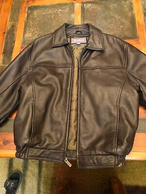 Wilsons Leather Mens BOMBER Brown Leather Jacket Size M