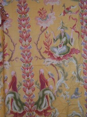 Brunschwig & Fils, Chimera, Vintage Oriental Motif, Hand Print,  Color Yellow