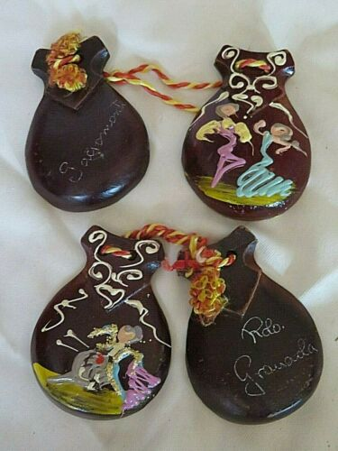 PAIR OF VINTAGE CASTANETS MATADOR BULL FIGHTING & FLAMENCO DANCERS SIGNED
