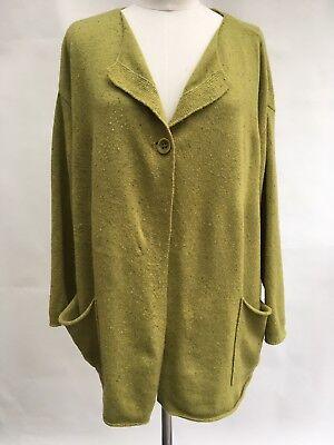 (Pure Jill Cardigan Green Tweed Wool Blend Single Button Pockets Drop Shoulders M)