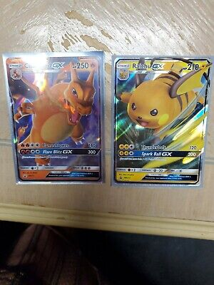 Charizard GX SM211and Raichu GX SM213 Hidden Fates Promo NM-Mint Pokemon TCG