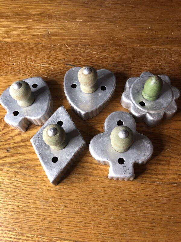 VINTAGE Green Knob Cookie Cutters 5 Pieces
