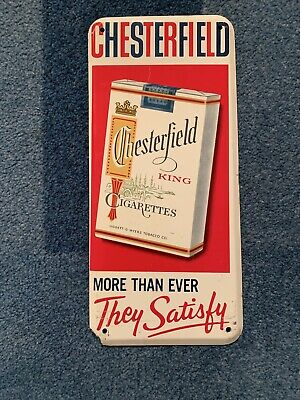 Vintage Chesterfield Cigarette Advertising Embossed Metal Sign 9x4 Door push