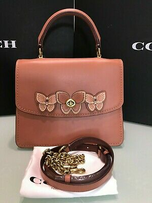 COACH Parker Top Handle With Butterfly Applique 69606 Light Peach/Brass Brass Coach Lights