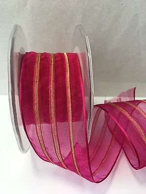 1.5 Sheer/Pull Flower Bow (Wired) Ribbon May Arts-399-15-22- Fuchsia/gold - 5 yd
