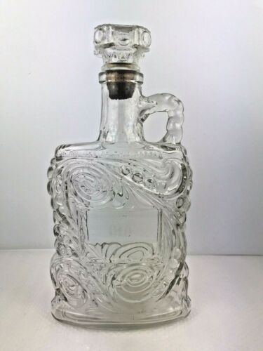 Vintage Empty OLD FORESTER Clear Kentucky Bourbon Whiskey Decanter Bottle w CORK