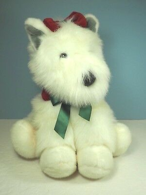 Gorgeous Plush Fluffy White Christmas Dog in a Deluxe Red Basket