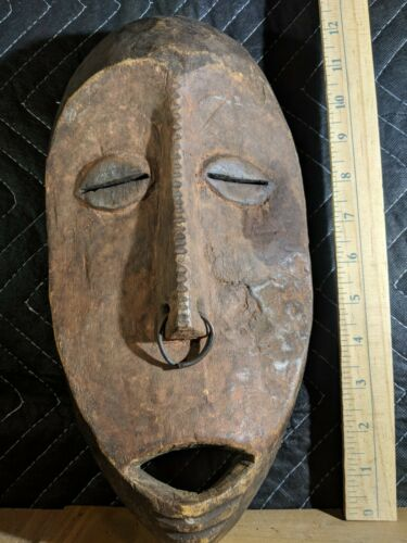 Lega Mask from the Congo with a Nose Ring  — Authentic Carved Wood African Art