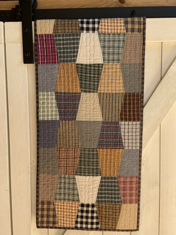 Handmade Quilted Table Runner Primitive Plaid Tumbler Quilt