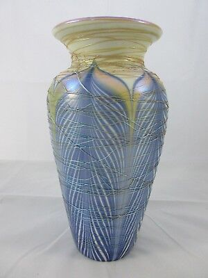 "Rare Durand Pulled Feather Threaded Art Glass Vase Spider Webbing 9"" Unsigned"