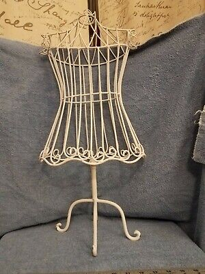 Female Metal Wire Form With Metal Base. White