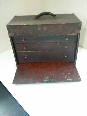 Vintage Machinist or Wood Crafter's Wooden Tool Chest Box 3 Drawers w/ Lock