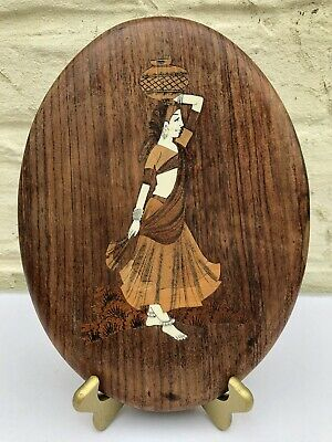 Vintage Indian Marquetry Wall Plaque Traditional Wooden Inlay Lady