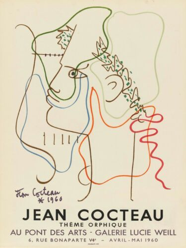 Jean Cocteau Print - Exhibition poster for Galerie Lucie Weill, 1960 (Therme Orp