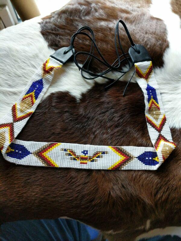 Native American Styled Hand Beaded Hatband