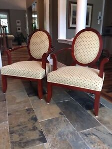2 Beautiful Bergere Chairs, Beige with gold and rust dots.