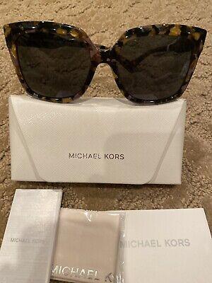Michael Kors Cortina 2082 334087 Black Gold Tortoise Gray  Sunglasses NEW NWT