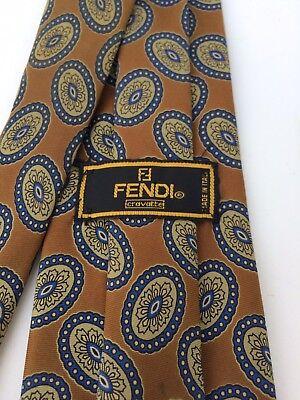FENDI CRAVATTE Mens Hand Made Brown Geometric Luxury Pure Silk Neck Tie Italy