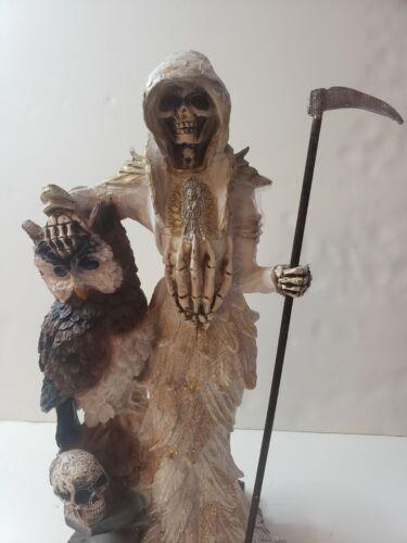"SANTA MUERTE BENDESIDA 22"" WHITE /OWL/HOLY DEATH FIXED/GRIM REAPER/ BLANCA"