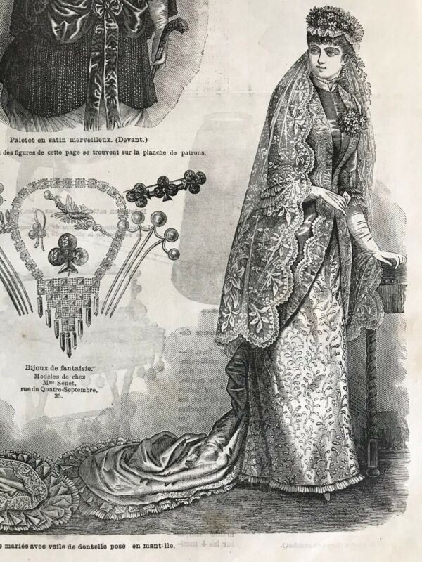 MODE ILLUSTREE SEWING PATTERN April 23, 1882 - BRIDE DRESS, Aprons, Coat