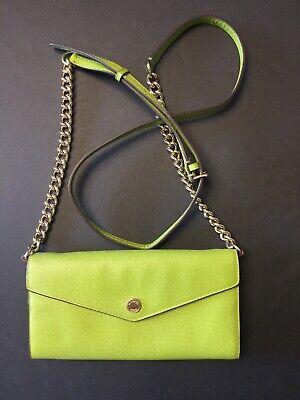 Michael Kors Jet Set Envelope Wallet Bag w/ Chain Strap  Green Leather
