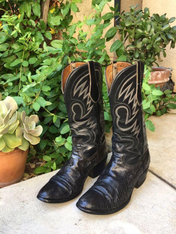 Vintage, MENS, Black, Cowboy, EXOTIC, Boots, WESTERN, Leather, Snake, Skin, Motorcycle, VTG