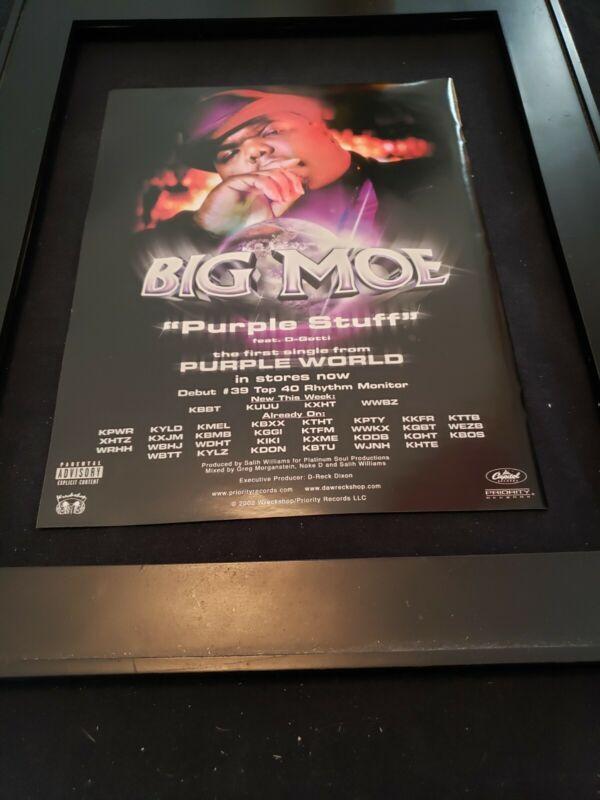 Big Moe Purple Stuff Rare Original Radio Promo Ad Framed!