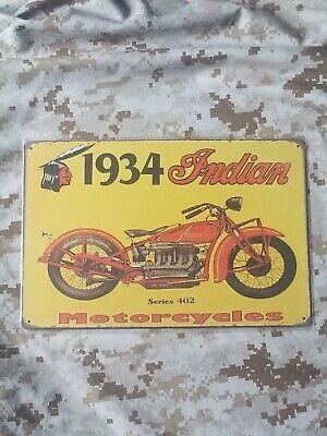 Indian Motorcycle 1934 Series 402 Tin Sign Wall Décor Retro Style Garage