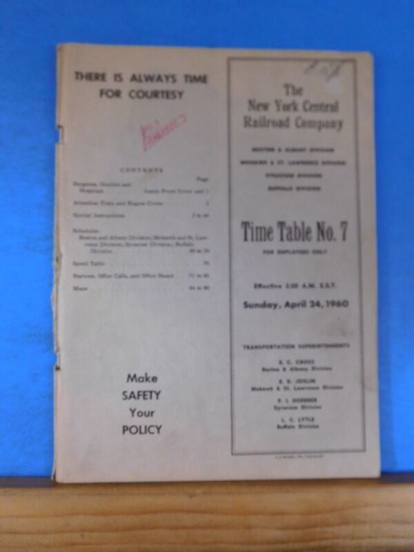 New York Central Railroad Company Employee Timetable #7 April 24 1960