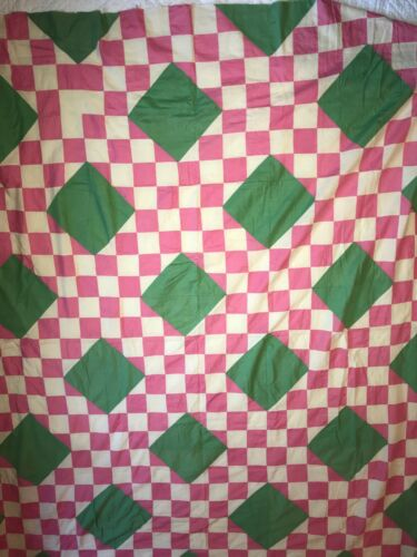 VINTAGE 1920s QUILT TOP pink green  all hand stitched cotton flour sack antique