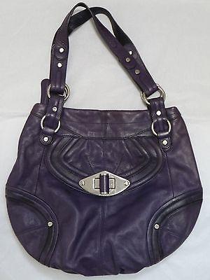 B. MAKOWSKY purple leather large shoulder bag hobo handbag
