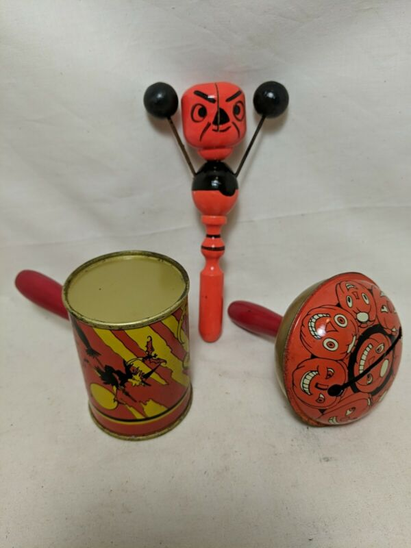 Lot 3 Vintage Antique Halloween Noisemaker Litho Pumpkin Witch Clay Marble Wood