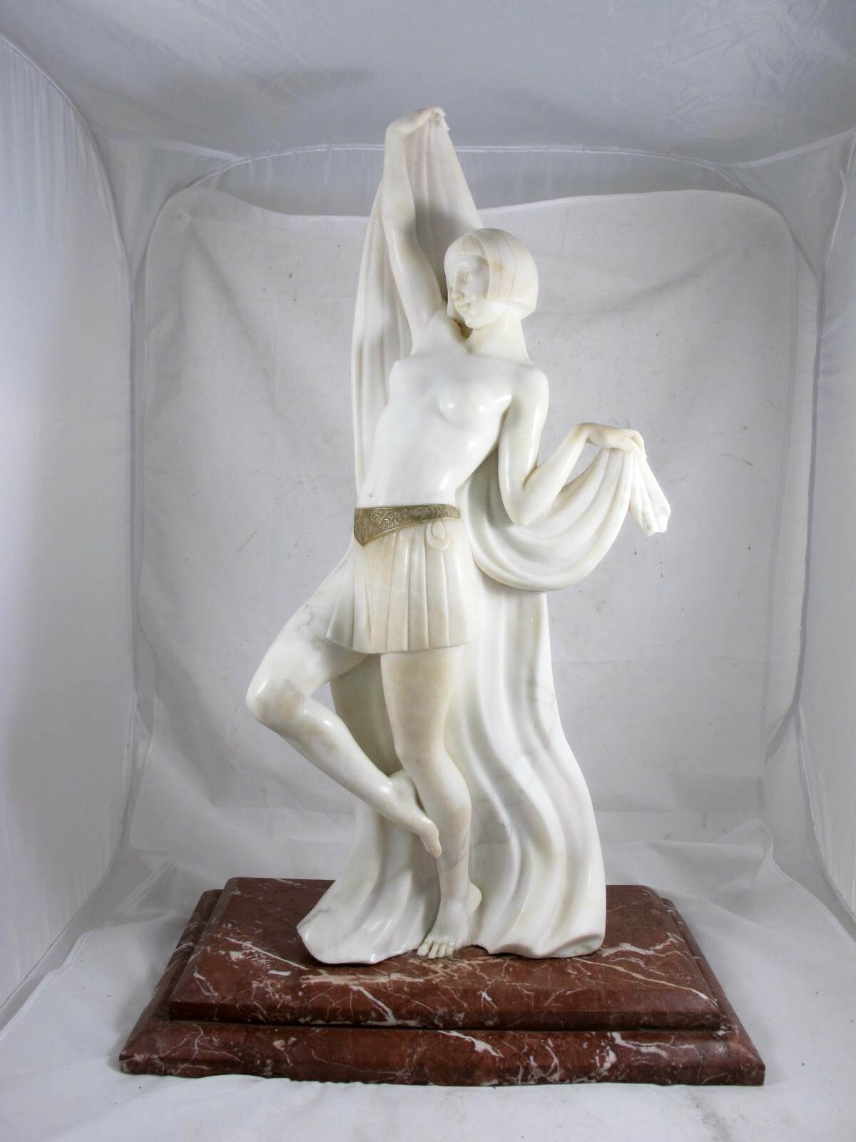 LARGE ART DECO MARBLE SEMI NUDE DANCE ON ROUGE BASE SIGNED PROF G. BESSI C1930'S