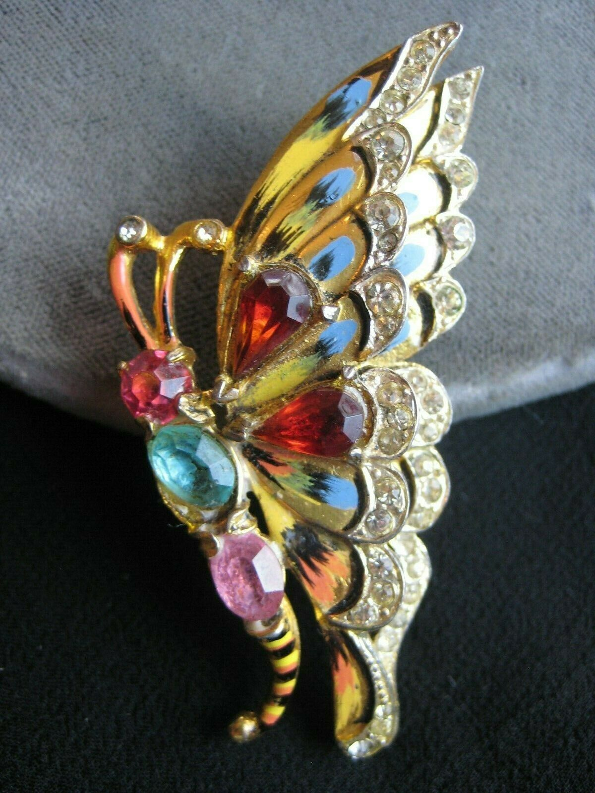 Rare CORO CRAFT Sterling Vermeil BUTTERFLY FUR CLIP PIN Crystals Enamel  - $227.50
