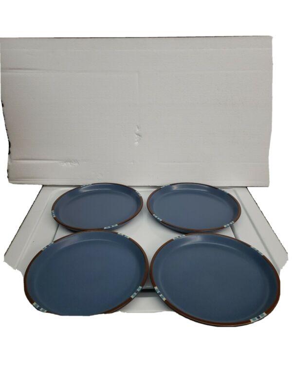 "Beautiful Set of 4 Dansk Mesa Blue Dinner Plates 10 1/2"" Japan"