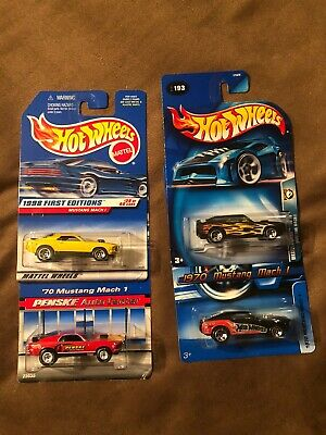 Hot Wheels - Lot of 4 - '70 Mustang Mach I - Various Colors & Decos