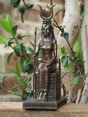 Isis (Aset) Sitting with Solar Disc ~ Veronese Collection, 19cm Tall, Egyptian