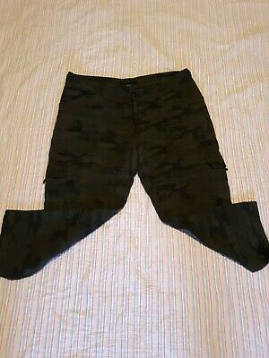 Anthropologie Sanctuary Camo Camouflage Crop  Linen Pants  Dawsting Relaxed Lg